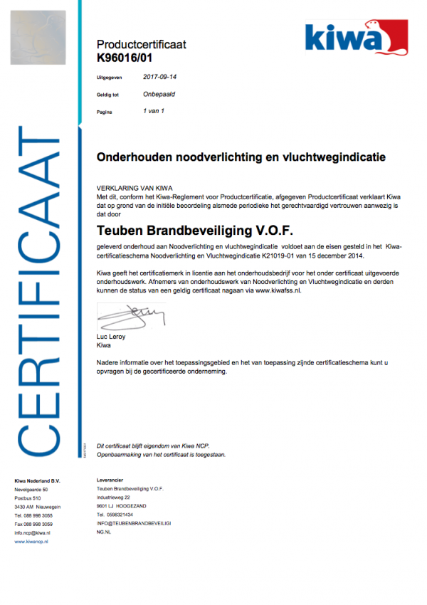 Certificaat onderhouden noodverlichting en vluchtwegindicatie